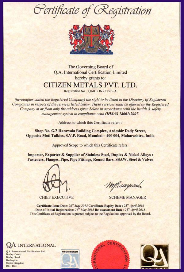 ISO CERTIFICATE 18001 2007 CMPL UKAS ENGLAND 2015 2016