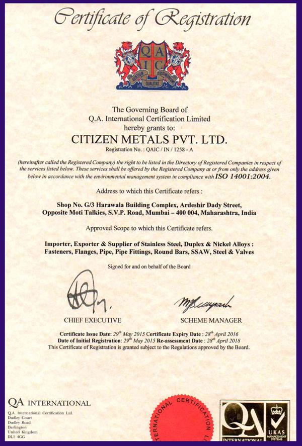 ISO CERTIFICATE 14001 2004 CMPL UKAS ENGLAND 2015 2016