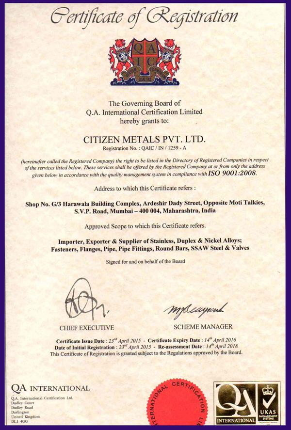 ISO CERTIFICATE 9001 2008 CMPL UKAS ENGLAND 2015 2016